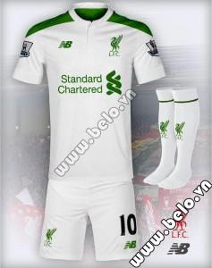 Áo bóng đá Liverpool 2015-2016 sân khách trắng xanh mẫu 3