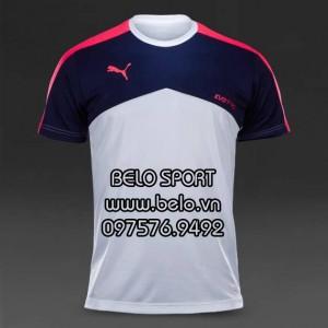 Áo bóng đá không logo AKG2016-12 puma trắng tím than