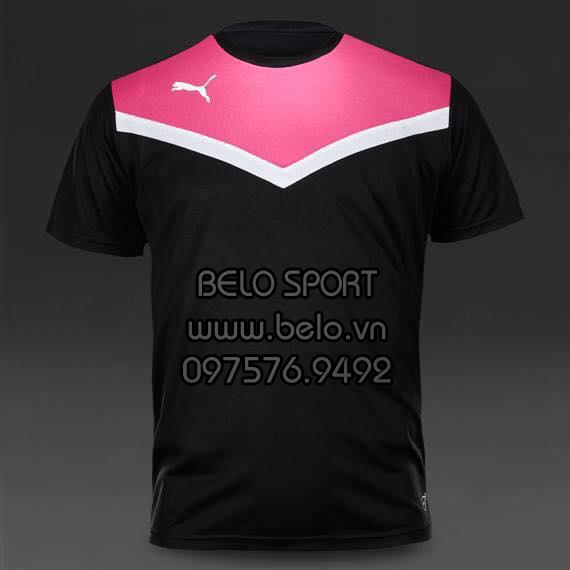 Áo bóng đá không logo AKG2016-7 Puma đỏ đen
