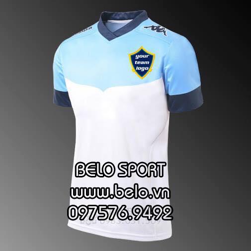 Áo bóng đá không logo màu trắng xanh AKG2016-2