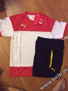 Áo bóng đá không logo có lưới thoát nhiệt màu đỏ trắng AKLG2016-15