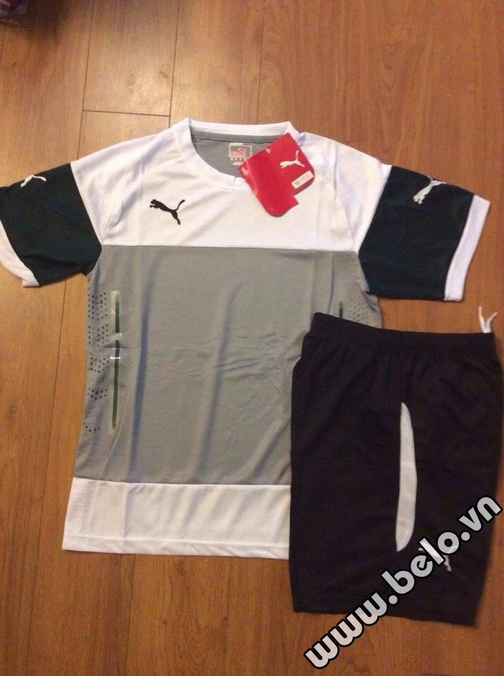 Áo bóng đá không logo có lưới thoát nhiệt màu trắng đen AKLG2016-16