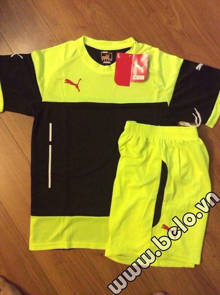 Áo bóng đá không logo có lưới thoát nhiệt vàng pha đen AKLG2016-17