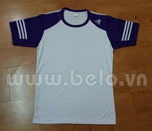 Áo bóng đá không logo adidas màu trắng tay tím mã AKLG45-2016