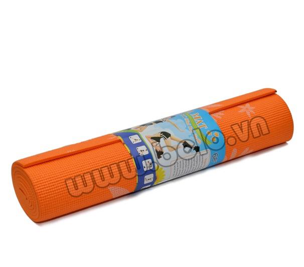 Thảm tập yoga PVC màu cam có họa tiết.