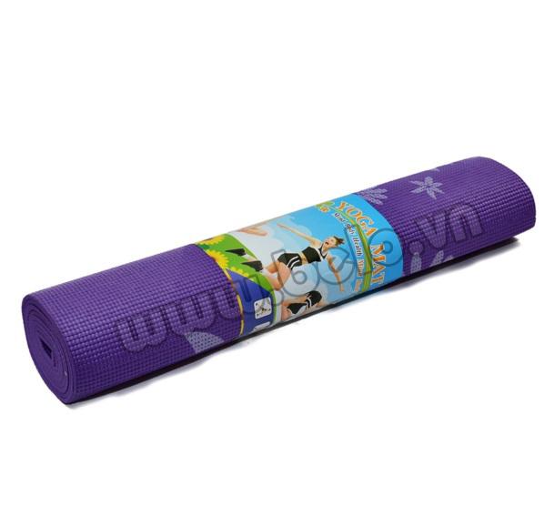 Thảm tập Yoga PVC màu tím có họa tiết