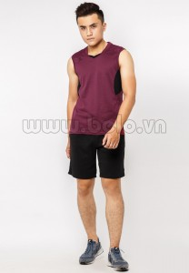 Quần áo bóng chuyền nam sát nách màu đỏ đô mã CSN013