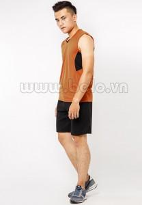 Quần áo bóng chuyền nam sát nách màu nâu mã CSN012