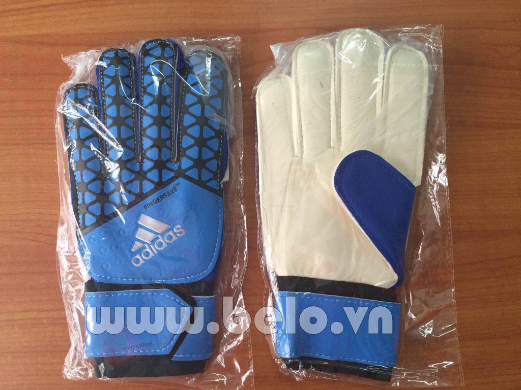 Găng tay thủ môn Adidas Fingersave xanh nước biển.
