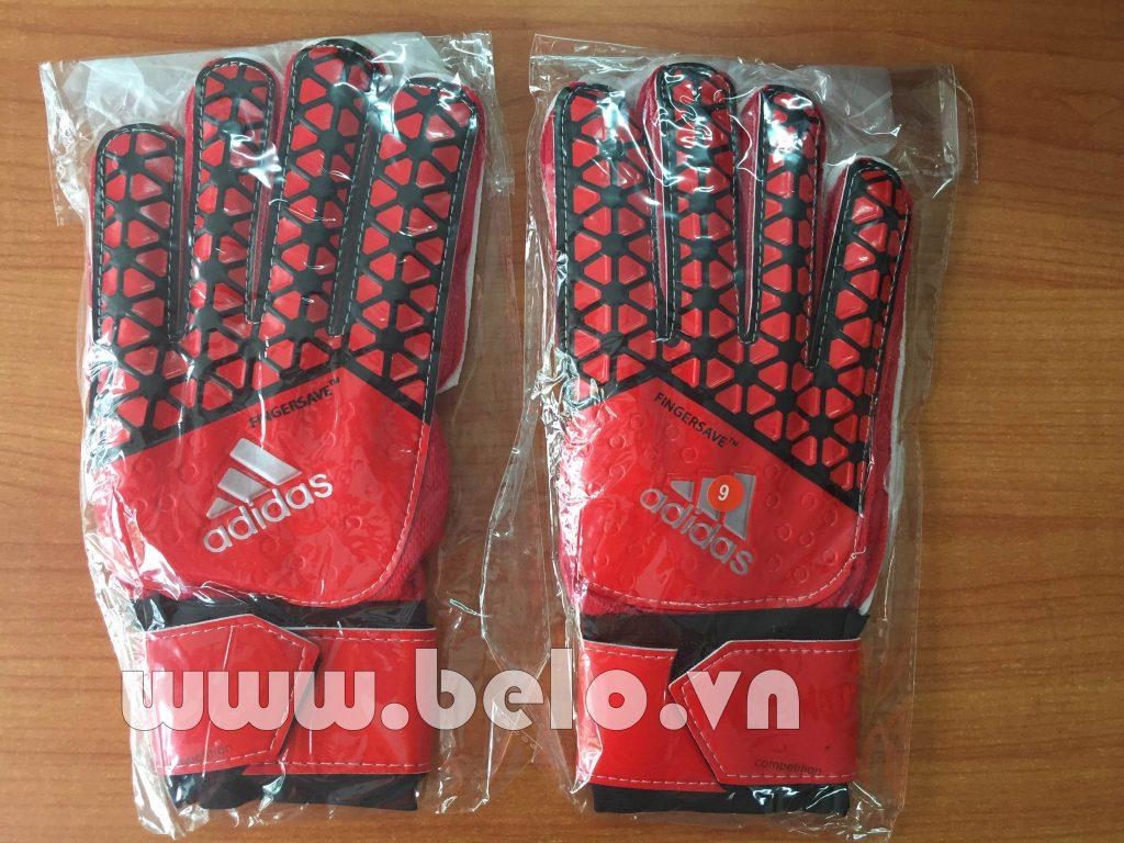Găng tay thủ môn Adidas Fingersave đỏ kẻ xọc đen