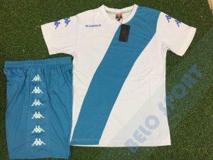 Aó bóng đá không logo kappa 2017-2018 trắng xanh