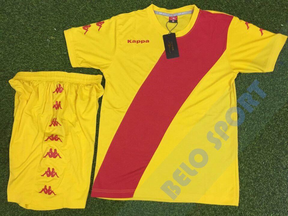 Aó bóng đá không logo kappa 2017-2018 trắng xanh vàng đỏ