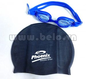 Mũ bơi chính hãng phoenix màu đen MB02