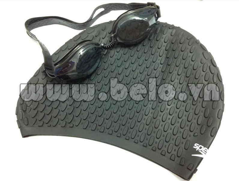 Mũ bơi chính hãng speedo màu đen gai MB15