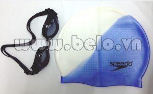Mũ bơi chính hãng speedo màu xanh trắng  MB23