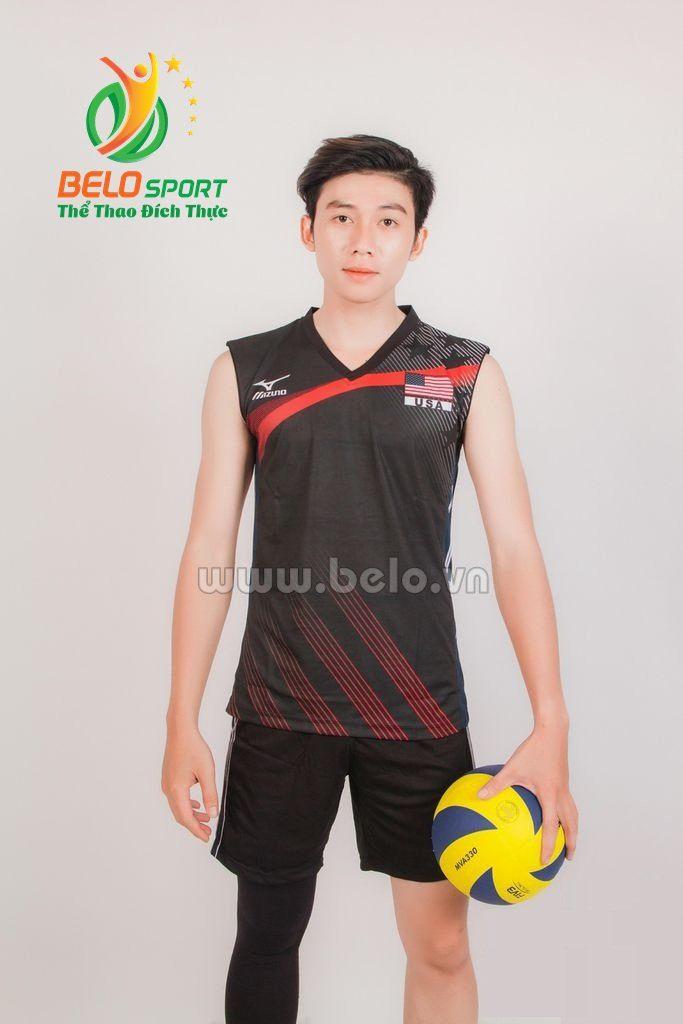 Quần áo bóng chuyền nam mizuno 1719 đen