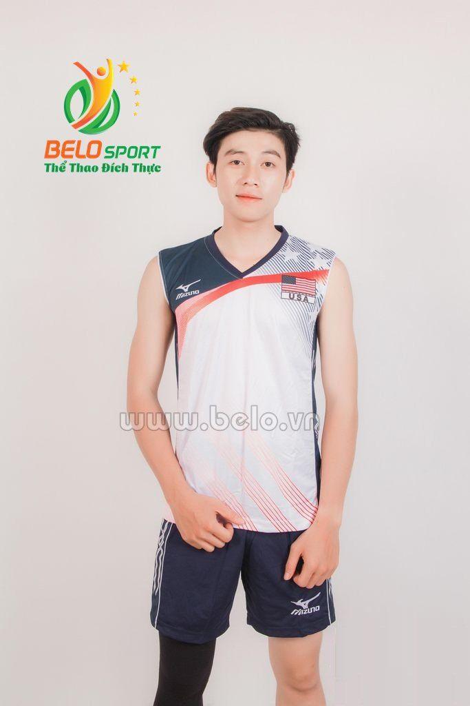 Quần áo bóng chuyền nam mizuno 1718 trắng