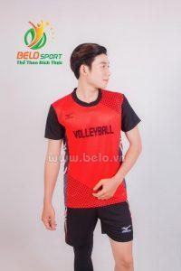 Quần áo bóng chuyền nam mizuno 1712 đỏ đen