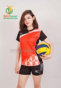 Quần áo bóng chuyền nữ mizuno 616 đỏ đen