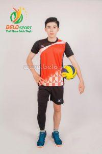 Quần áo bóng chuyền nam mizuno 1710 đỏ đen