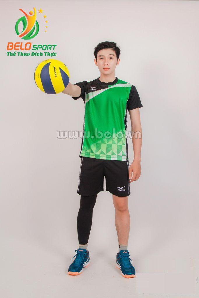 Quần áo bóng chuyền nam mizuno 1619 xanh đen