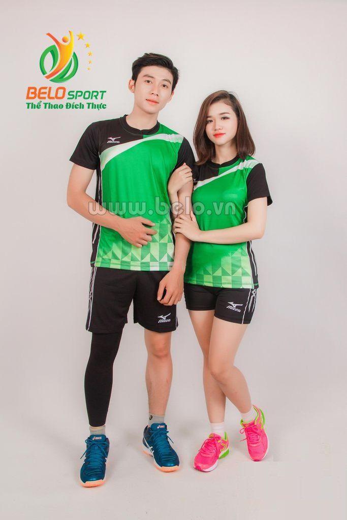 Quần áo bóng chuyền nữ mizuno 618 xanh lá
