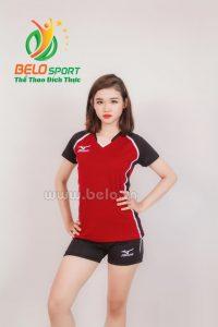 Quần áo bóng chuyền nữ mizuno 613 đỏ đô