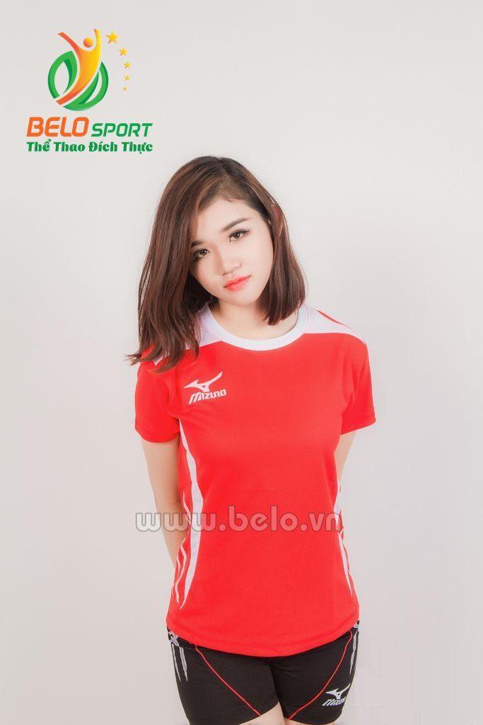 Quần áo bóng chuyền nữ mizuno 612 màu đỏ