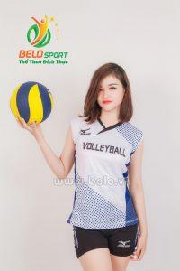 Quần áo bóng chuyền nữ mizuno 610 trắng xanh
