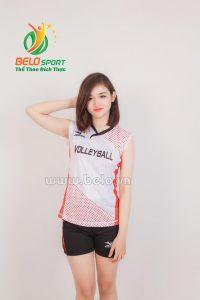 Quần áo bóng chuyền nữ mizuno 609 trắng đỏ