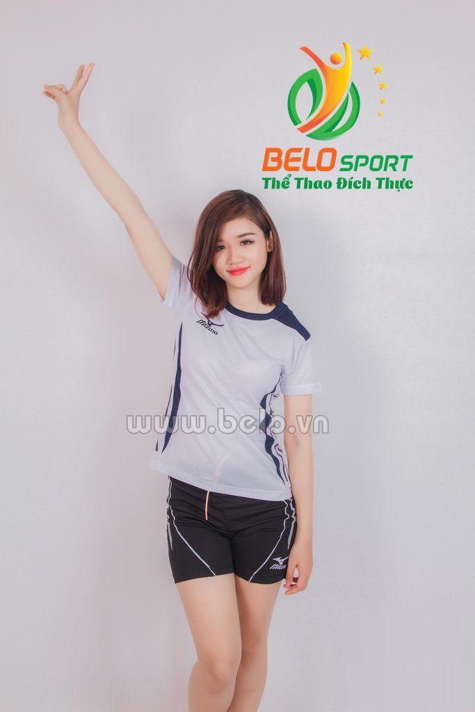 Quần áo bóng chuyền nữ mizuno 606 màu trắng
