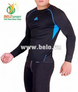 Áo lót body bóng đá, áo tập gym màu đen cao cấp ABD888