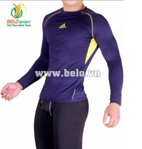 Áo lót body bóng đá, áo tập gym màu tím than cao cấp ABD686