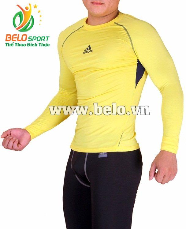 Áo lót body bóng đá, áo tập gym màu vàng cao cấp ABD683