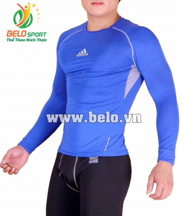 Áo lót body bóng đá, áo tập gym màu xanh biển cao cấp ABD689