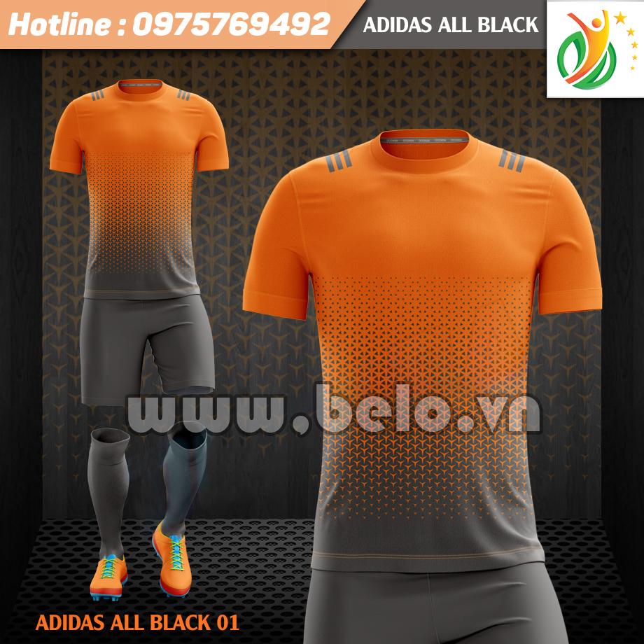 Áo bóng đá không logo Adi-All Black 2017 cam đen