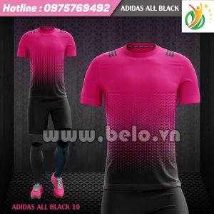 Áo bóng đá không logo Adi-All Black 2017 đen-hồng