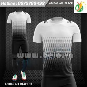 Áo bóng đá không logo Adi-All Black 2017 đen-trắng
