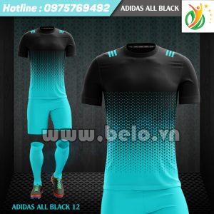 Áo bóng đá không logo Adi-All Black 2017 xanh-đen