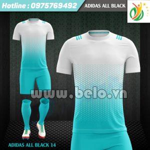 Áo bóng đá không logo Adi-All Black 2017 xanh trắng