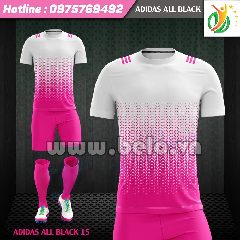 Áo bóng đá không logo Adi-All Black 2017 hồng trắng