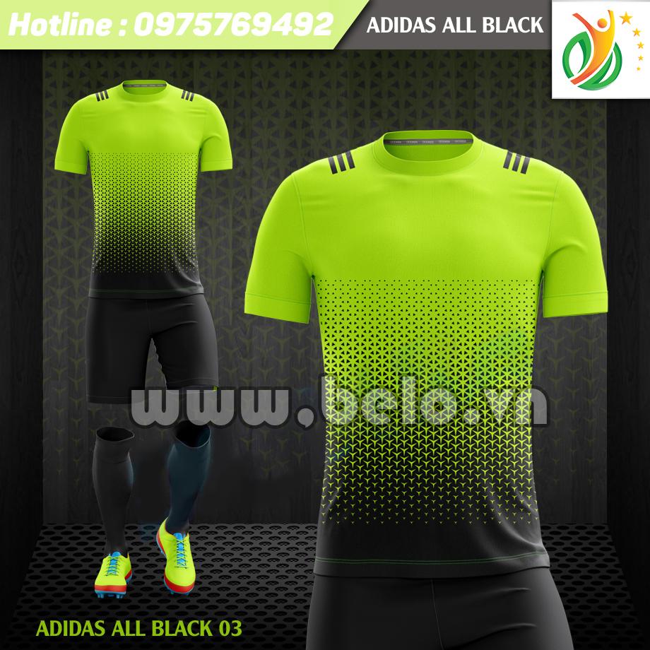 Áo bóng đá không logo Adi-All Black 2017 xanh chuối-đen