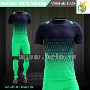 Áo bóng đá không logo Adi-All Black 2017 xanh-tím than