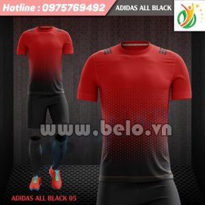 Áo bóng đá không logo Adi-All Black 2017 đỏ-đen