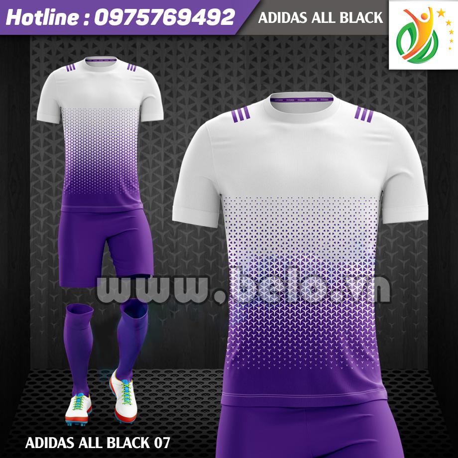 Áo bóng đá không logo Adi-All Black 2017 tím-trắng