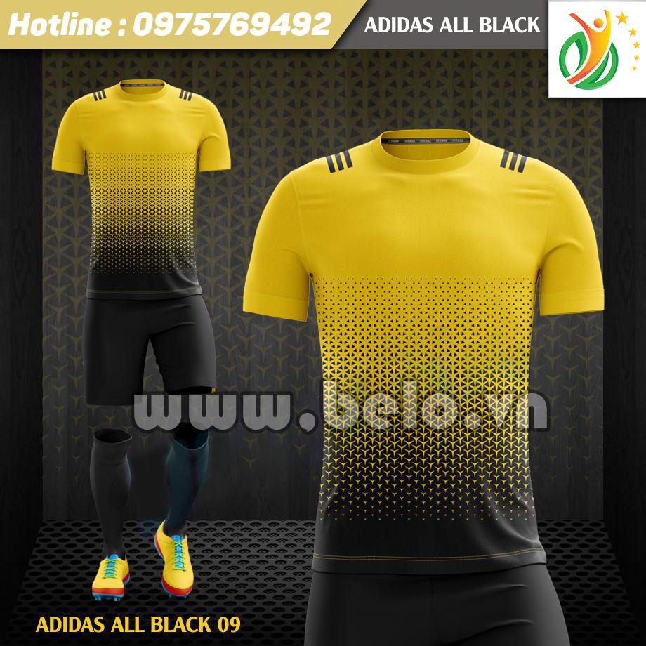 Áo bóng đá không logo Adi-All Black 2017 vàng-đen