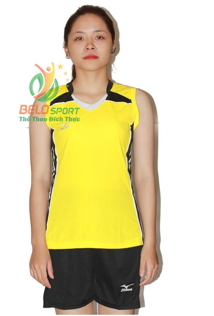 Áo bóng chuyền nữ mizuno vàng sát nách 2018-G4