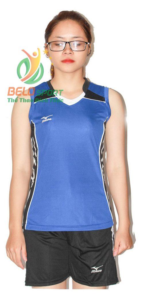 Áo bóng chuyền nữ mizuno xanh dương sát nách 2018-G1