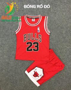 Quần áo bóng rổ trẻ em BRTE-01 vải mè màu đỏ giá rẻ