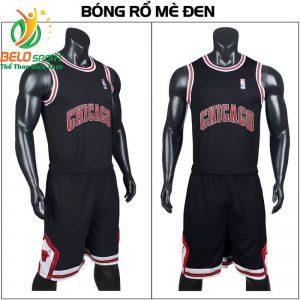 Quần áo bóng rổ người lớn BRS-04 vải mè màu đen giá rẻ